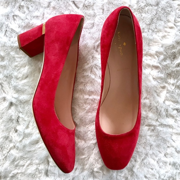 e3cfb55d3eef kate spade Shoes - NEW Kate Spade Dolores Too Red Suede Block Heels